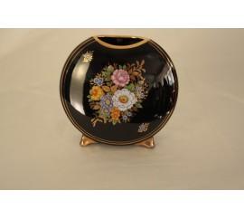Διακοσμητικο βαζάκι μαύρου χρωματος με λουλουδια