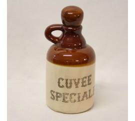 "Vintage French, Stoneware/Ceramic Lidded Pitcher Bottle, ""CUVEE SPECIALE"", cork stopper, 1950's."