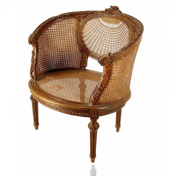 Πολυθρόνα ψάθινη Λούστρο καφέ Κλασική